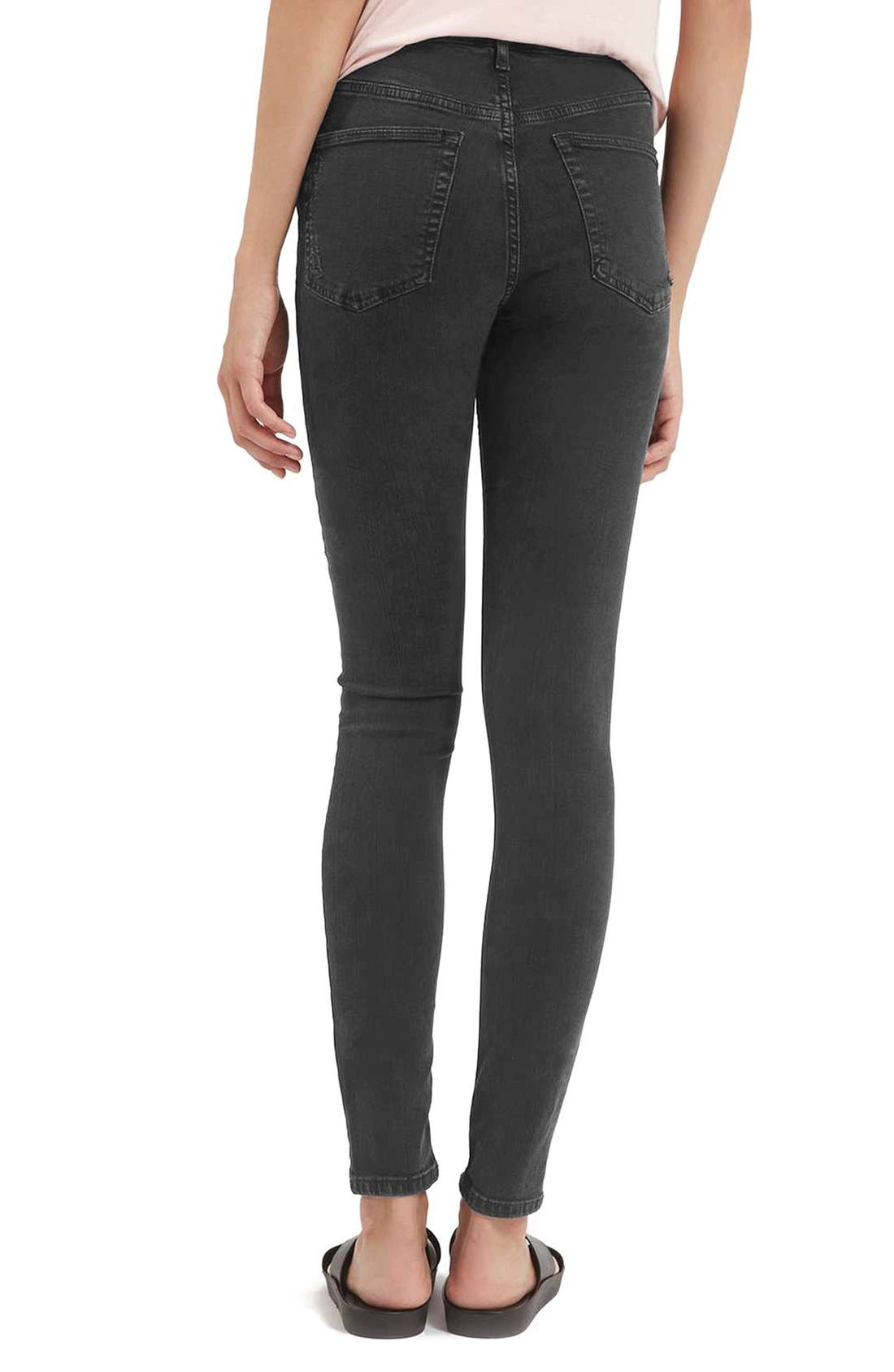 Alternate Image 2  - Topshop Jamie Shredded High Waist Skinny Jeans