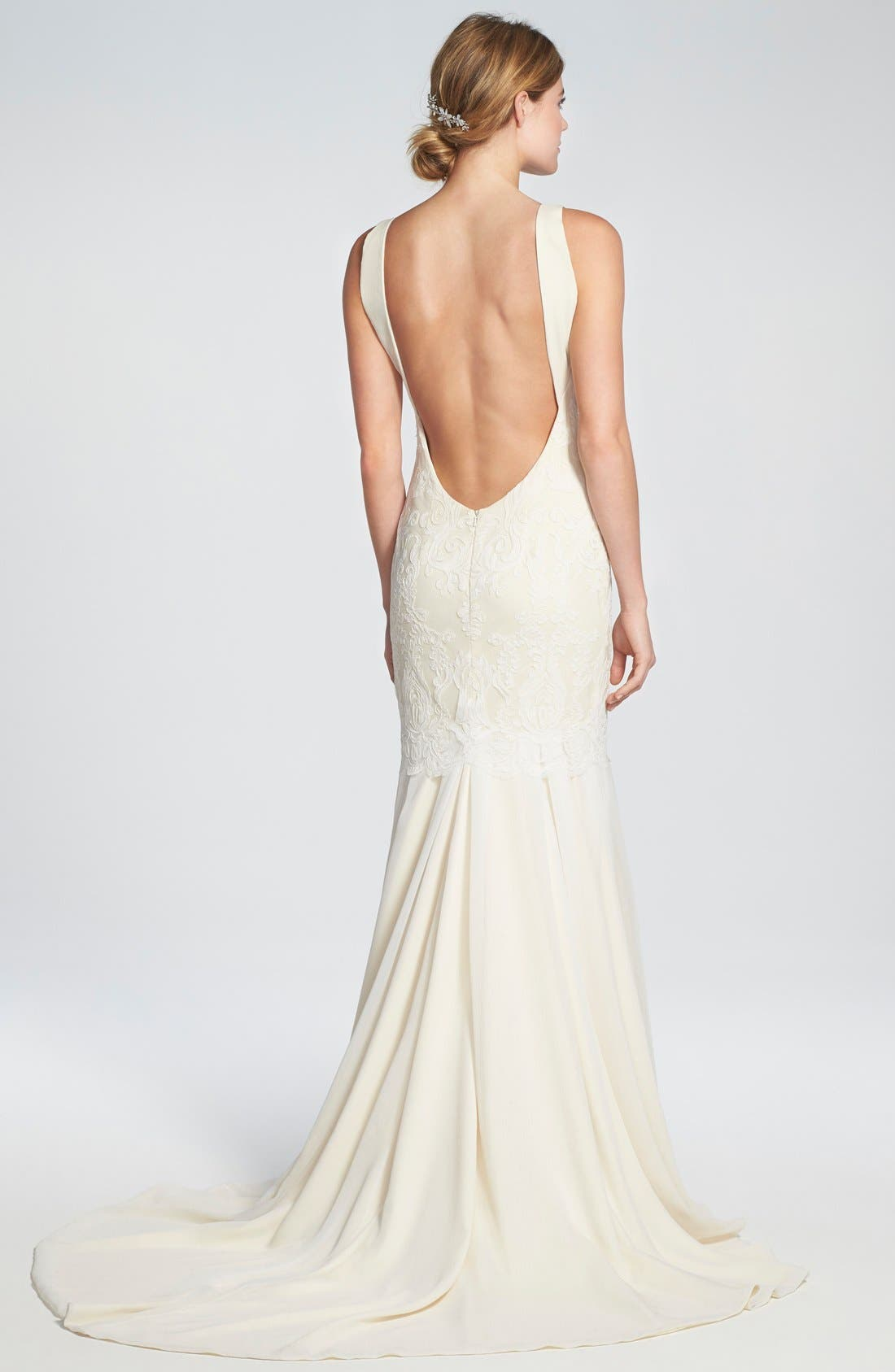 Alternate Image 2  - Katie May 'Monaco' Lace & Chiffon Trumpet Gown