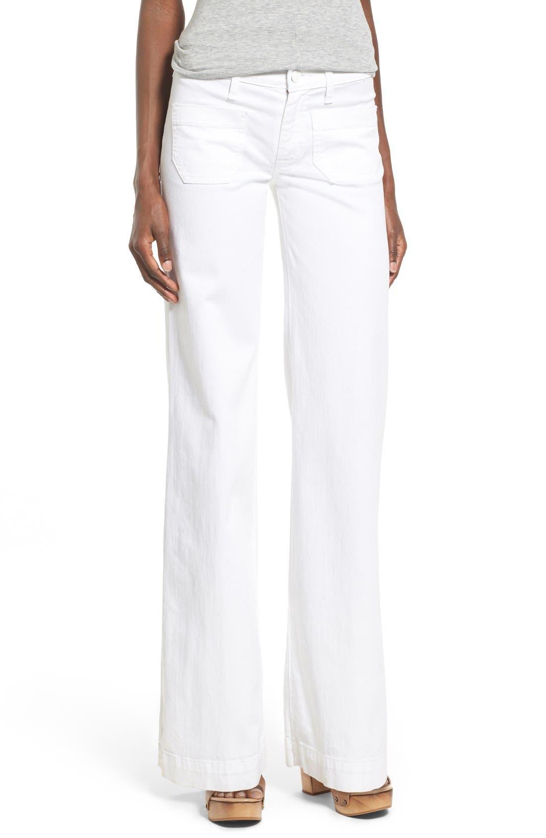 'Libby' Wide Leg Sailor Jeans,                         Main,                         color, White2