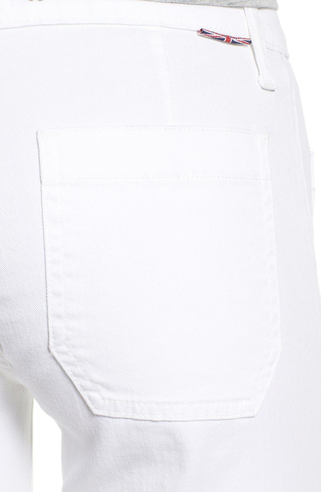 'Libby' Wide Leg Sailor Jeans,                             Alternate thumbnail 4, color,                             White2