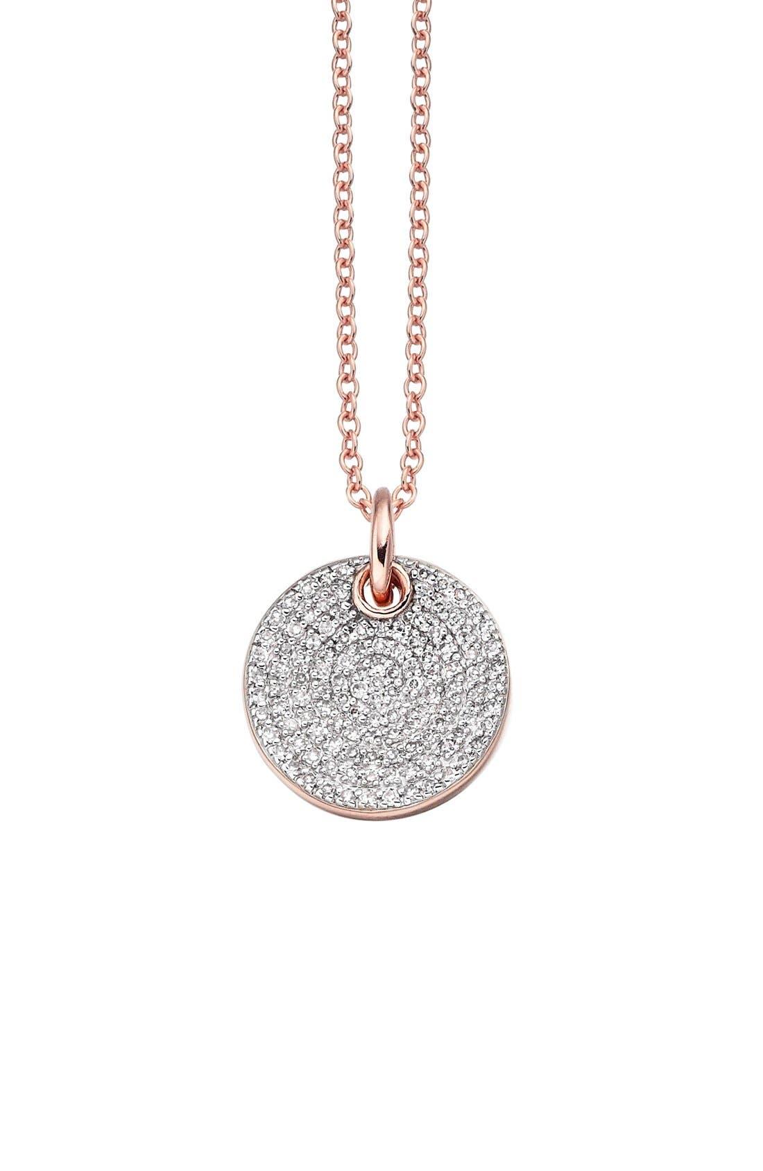 'Ava' Diamond Disc Pendant,                             Main thumbnail 1, color,                             Rose Gold