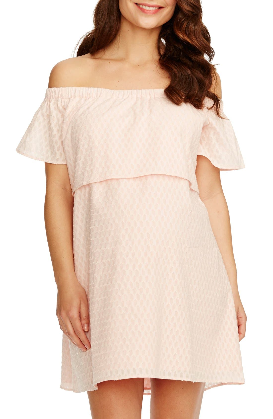 ROSIE POPE 'Camille' Off The Shoulder Maternity Dress in Ballet Pink
