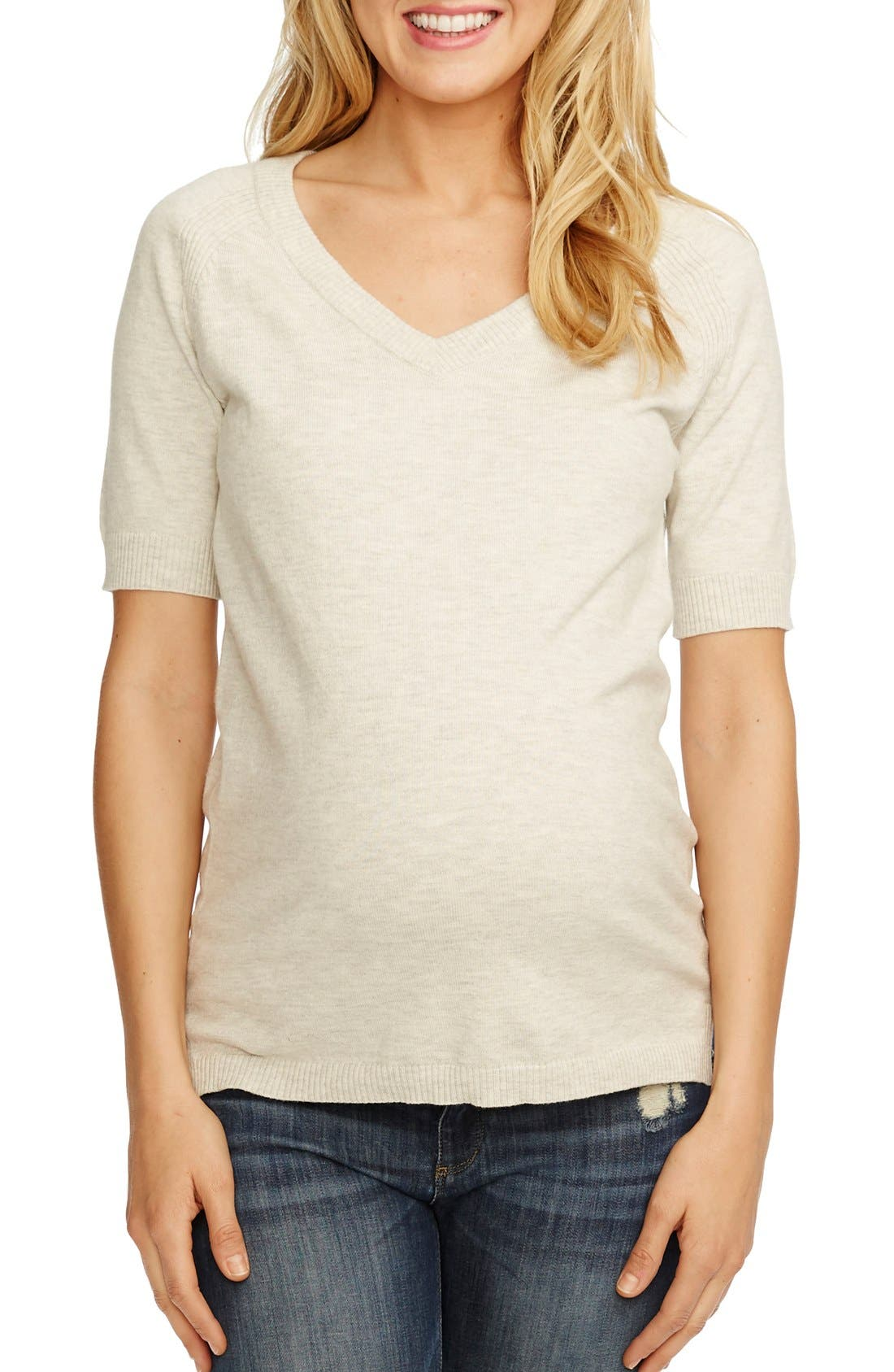 'Avery' V-Neck Maternity Sweater,                         Main,                         color, Ivory Heather