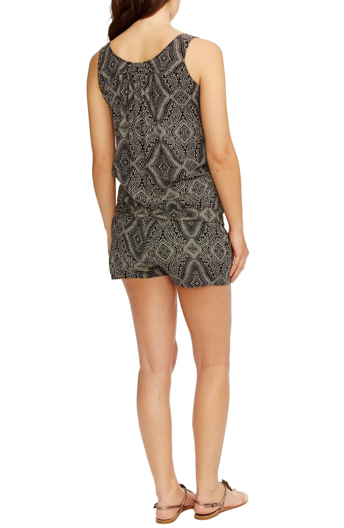 'Elizabeth' Print Maternity Romper,                             Alternate thumbnail 2, color,                             Black W/ Sand