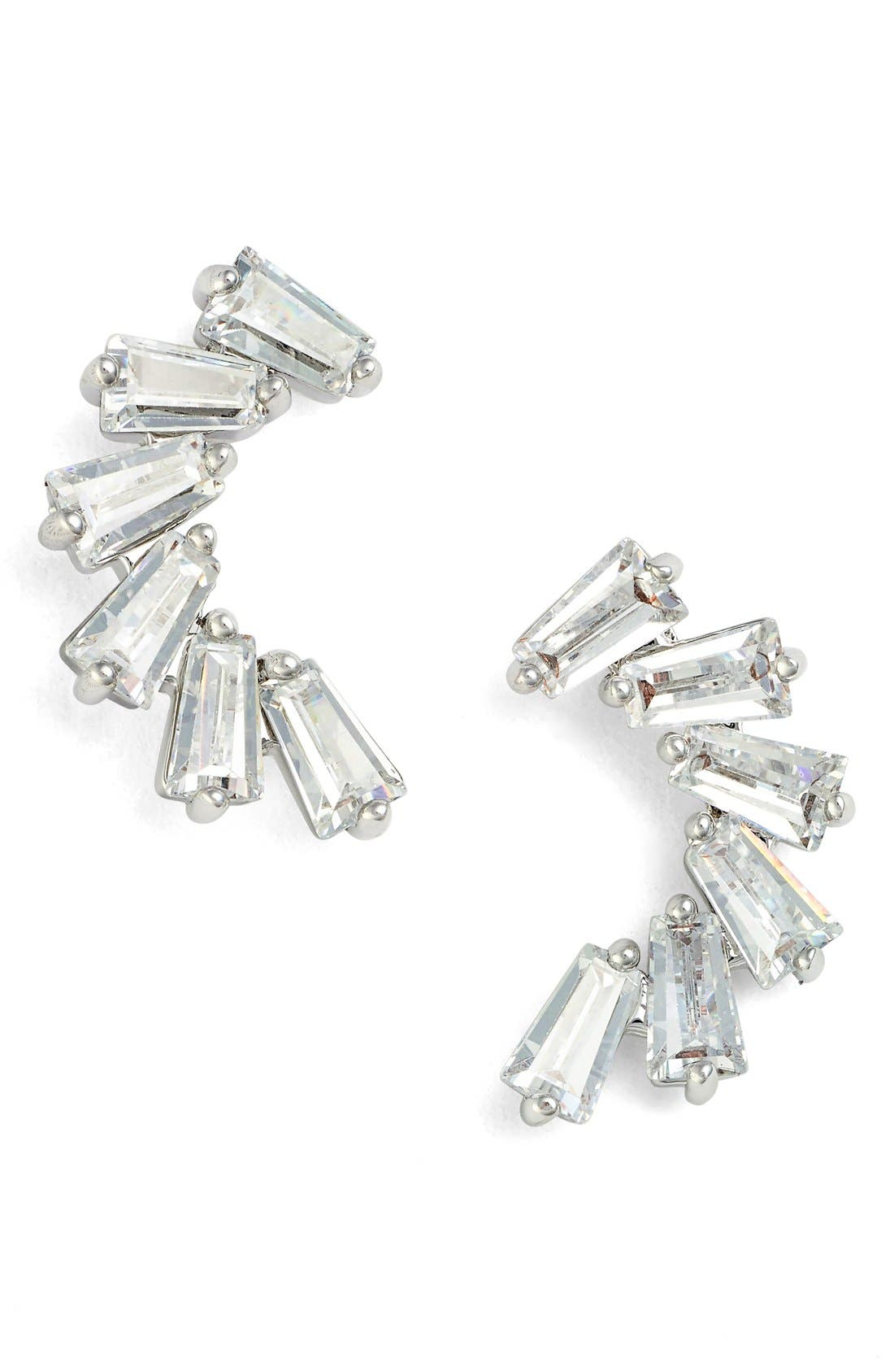 CZ by Kenneth Jay Lane Curved Baguette Cubic Zirconia Stud Earrings