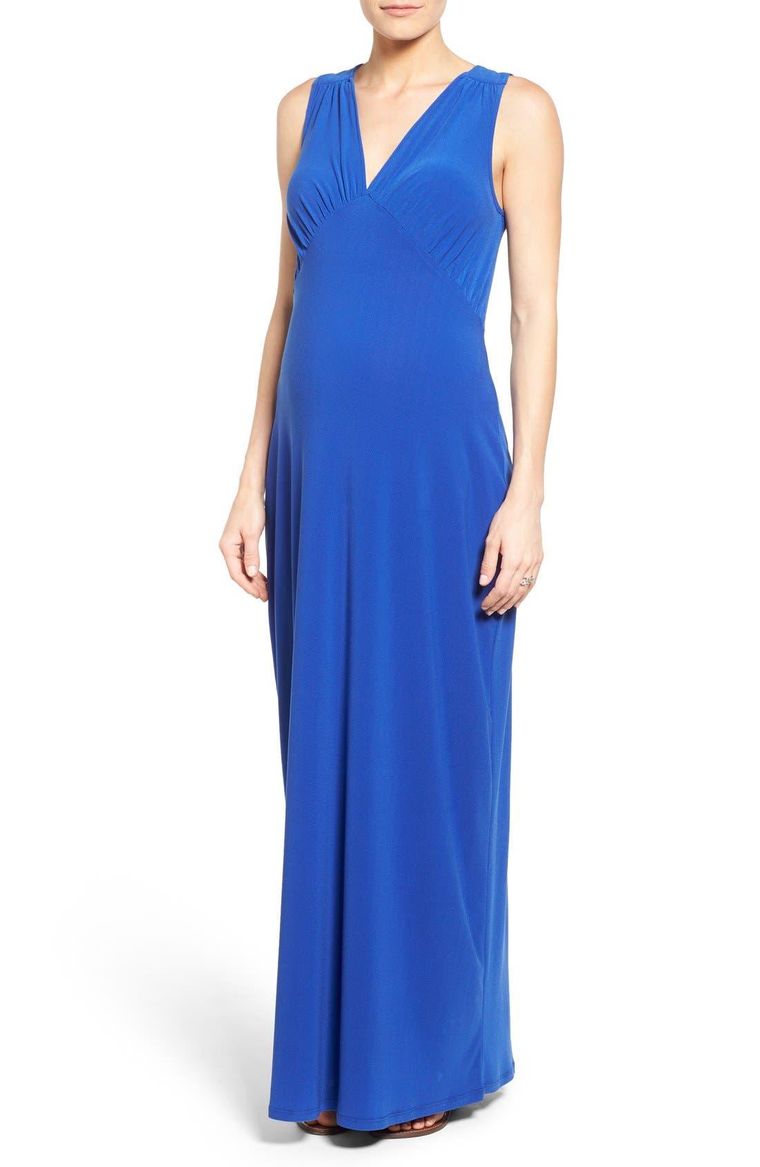 'Isabella' V-Neck Maternity Maxi Dress,                             Main thumbnail 1, color,                             Cobalt Crepe