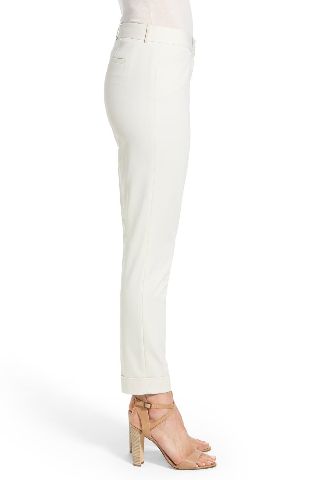 'Downtown' Stretch Cotton Blend Cuff Ankle Pants,                             Alternate thumbnail 4, color,                             Raffia