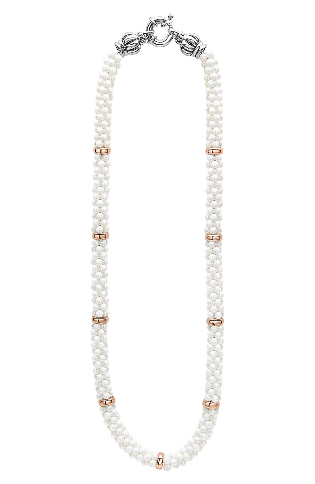 LAGOS White Caviar 7mm Beaded Station Necklace