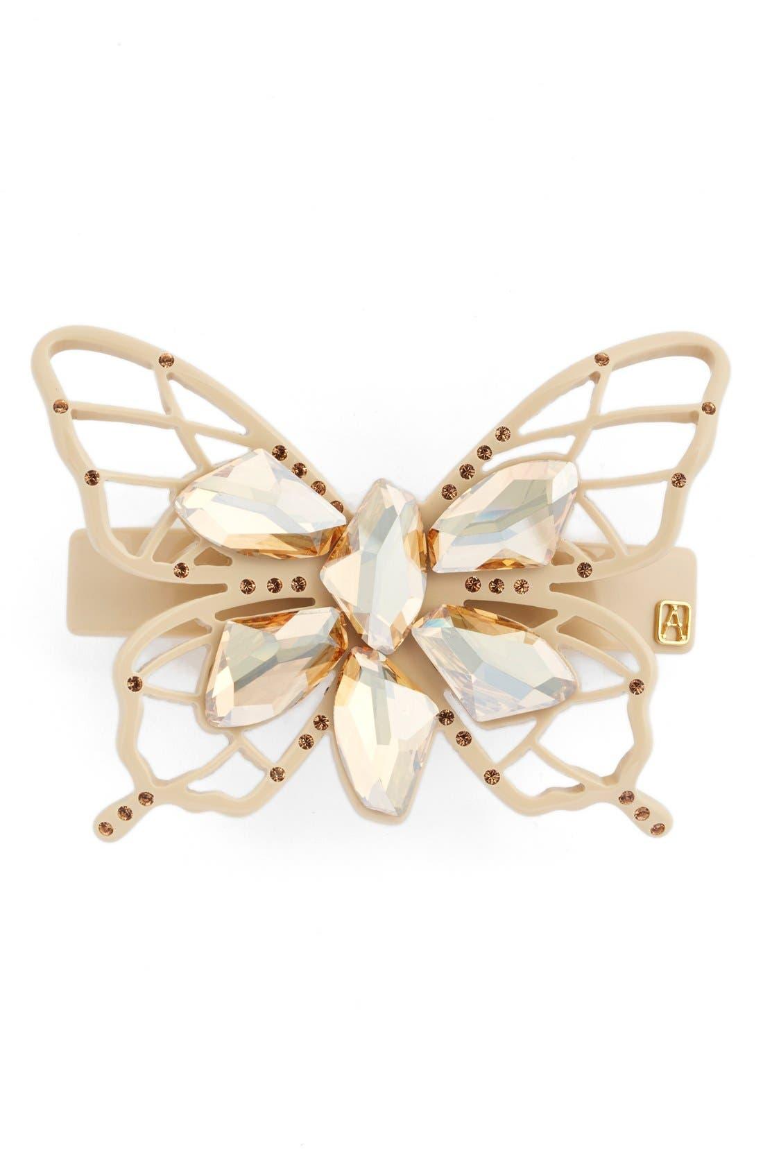 Butterfly Barrette,                         Main,                         color, Beige