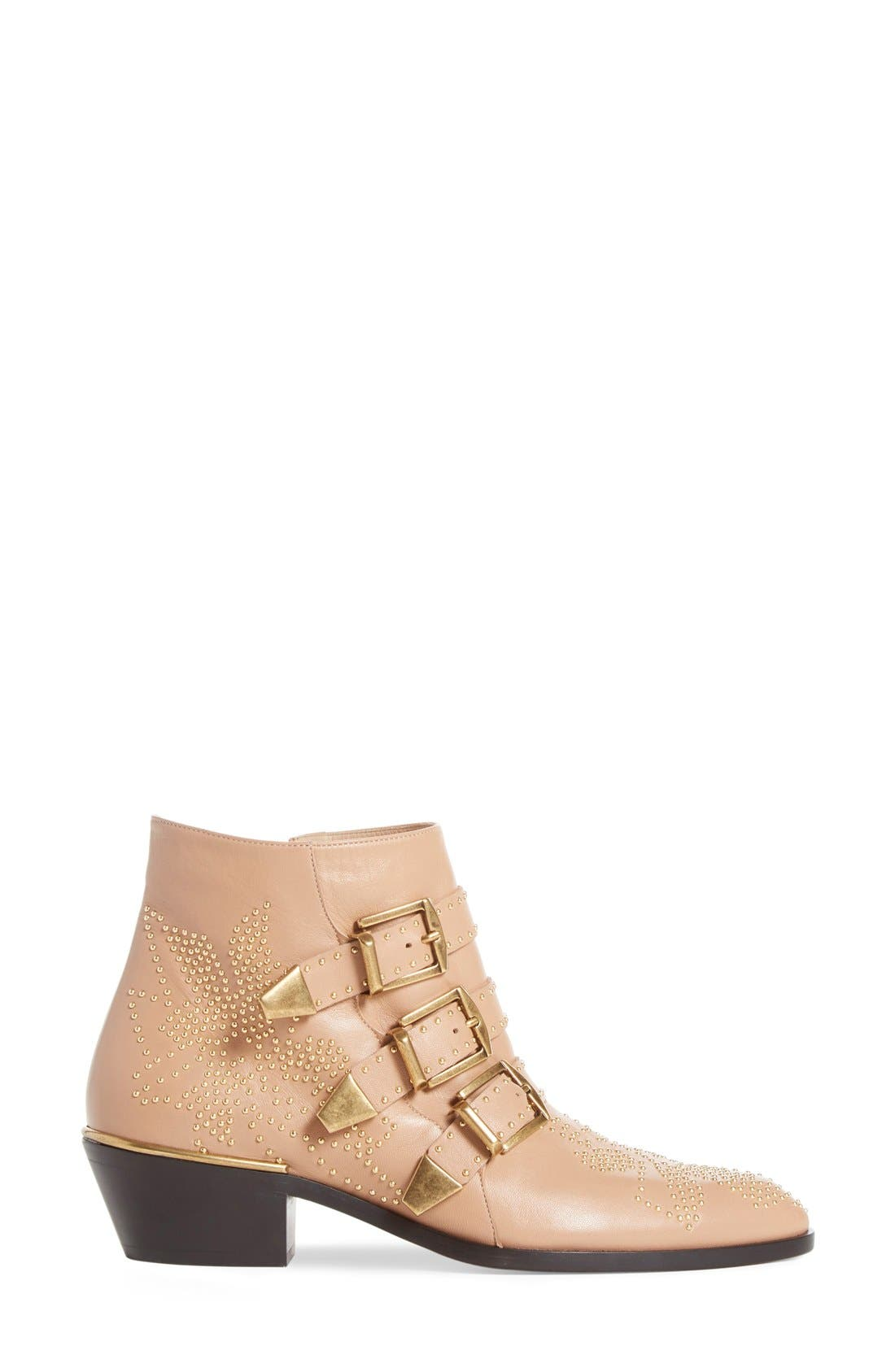 Susanna Stud Buckle Bootie,                             Alternate thumbnail 4, color,                             Beige Gold Leather