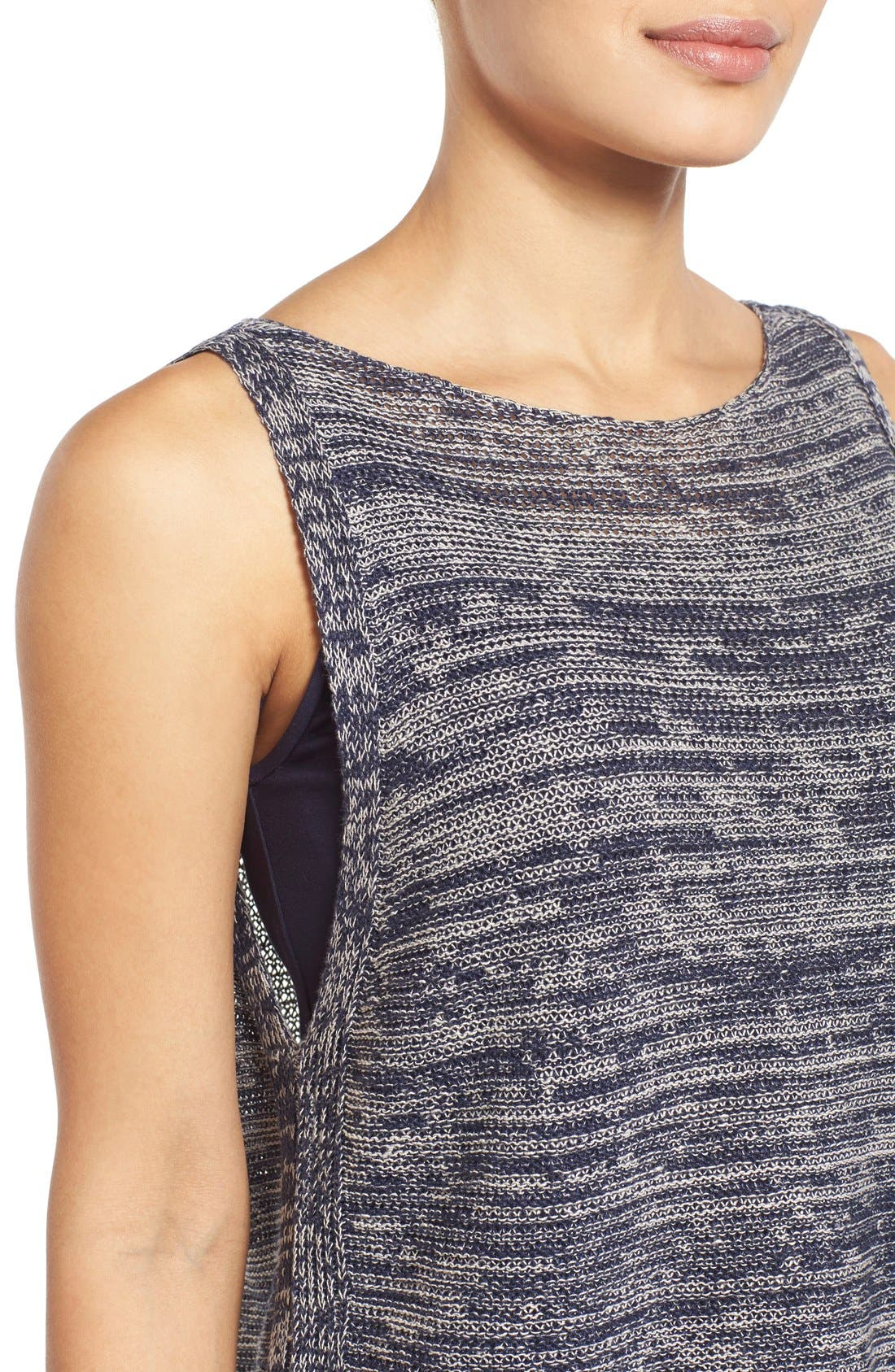 Alternate Image 4  - Eileen Fisher Organic Linen Knit Bateau Neck High/Low Shell