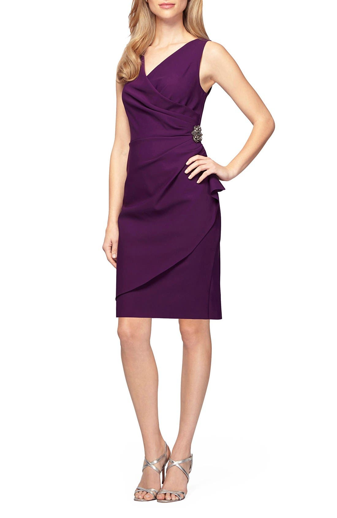 Side Ruched Dress,                         Main,                         color, Summer Plum