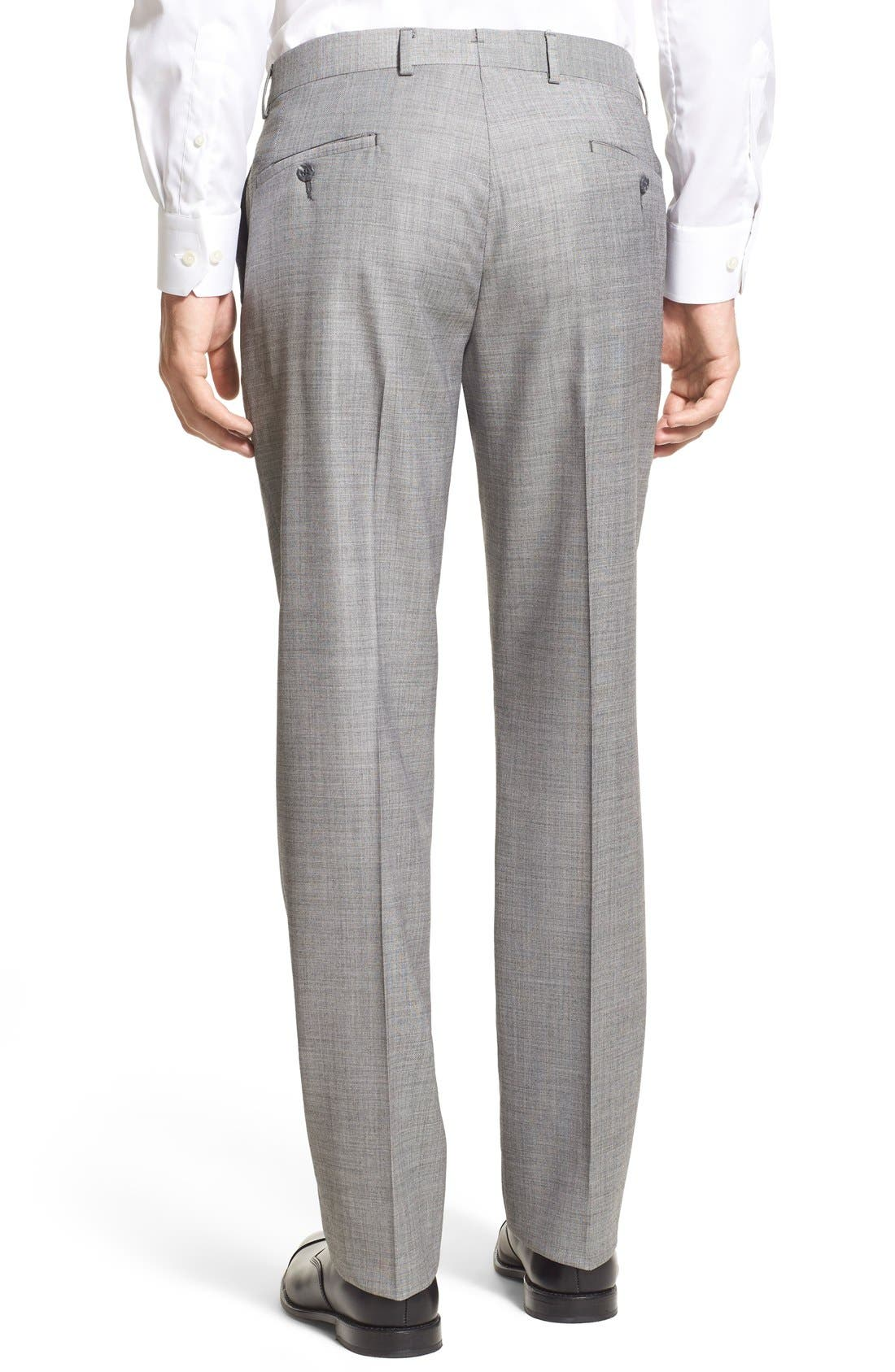 Alternate Image 3  - Nordstrom Men's Shop Flat Front Sharkskin Wool Trousers