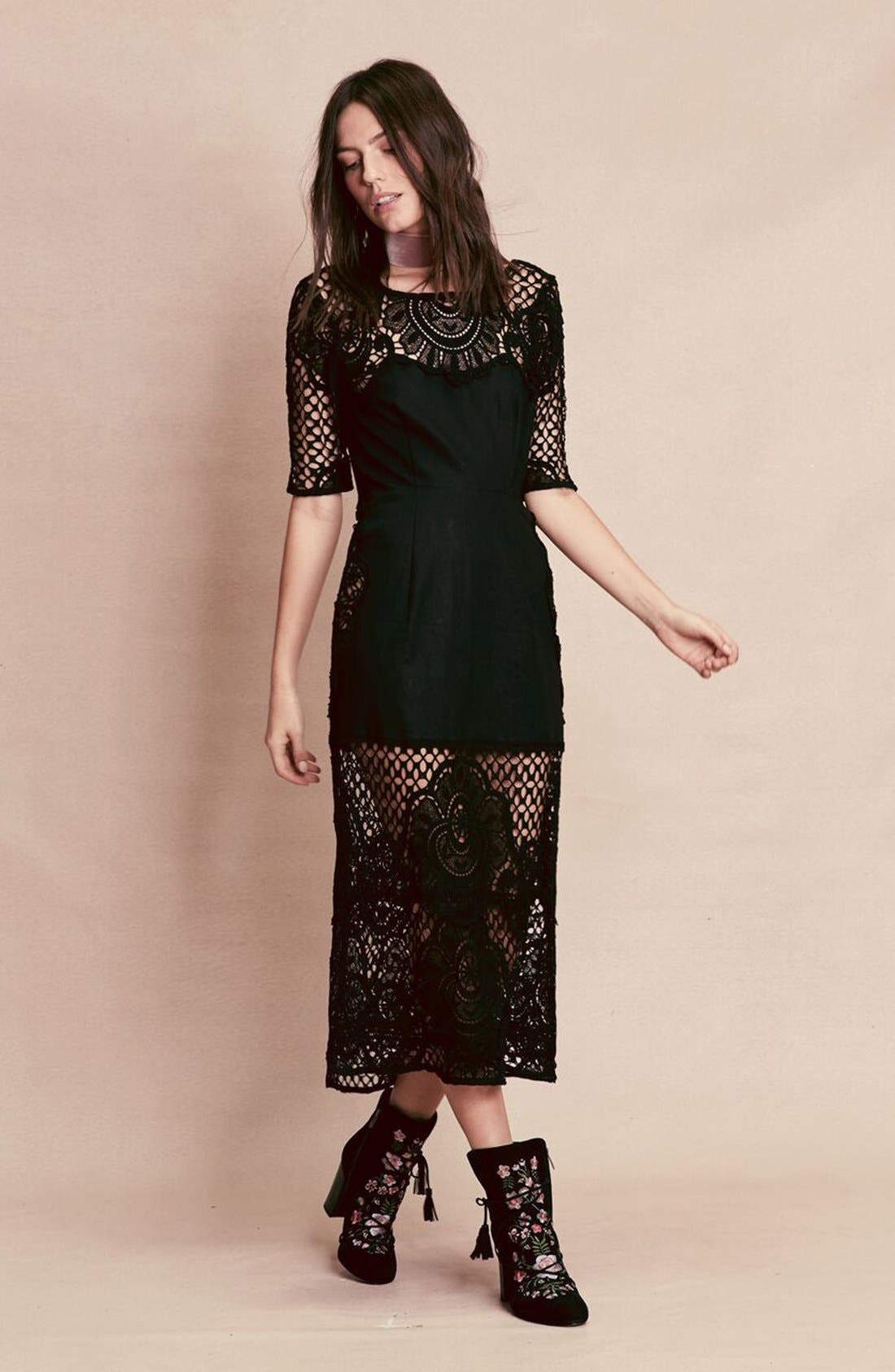 Alternate Image 6  - For Love & Lemons 'Gracey' Illusion Lace Midi Dress