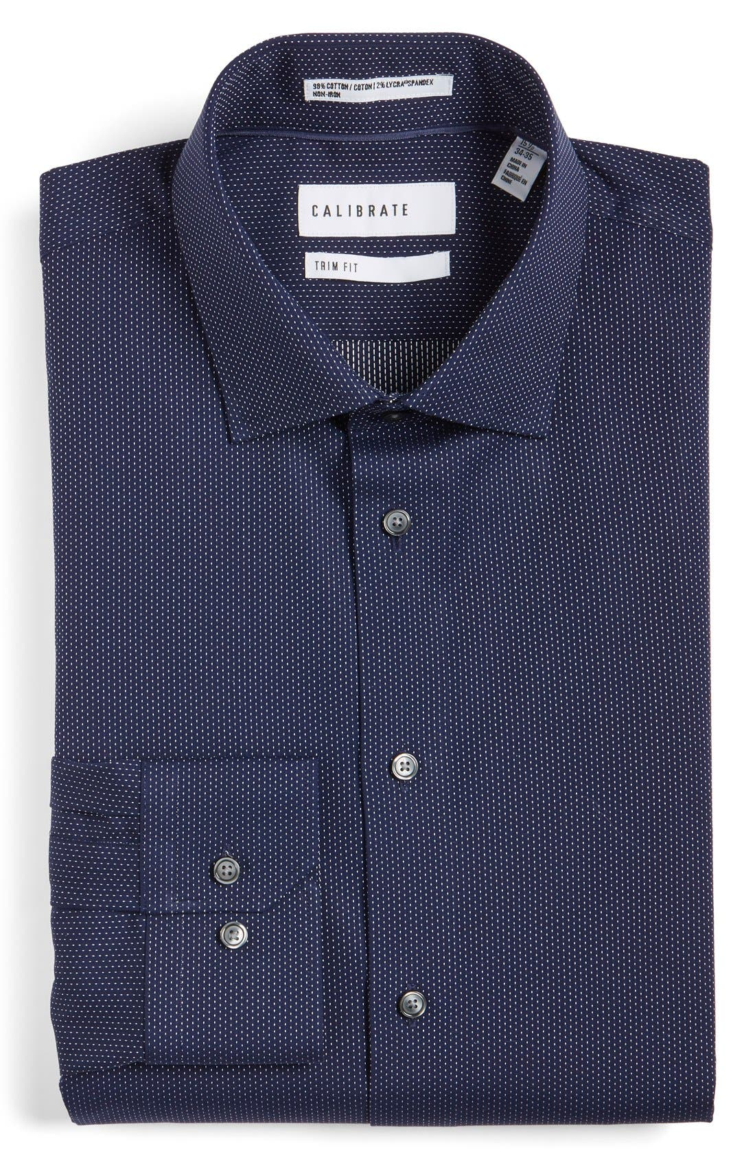 Trim Fit Non-Iron Microdot Dress Shirt,                         Main,                         color, Navy Peacoat