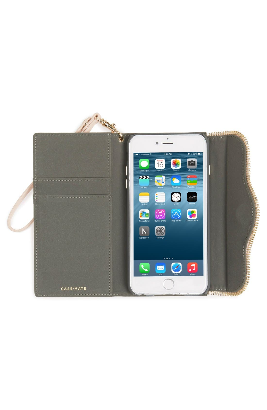 iPhone 6 Plus & 6s Plus Folio Wristlet,                             Alternate thumbnail 2, color,                             Pale Blush
