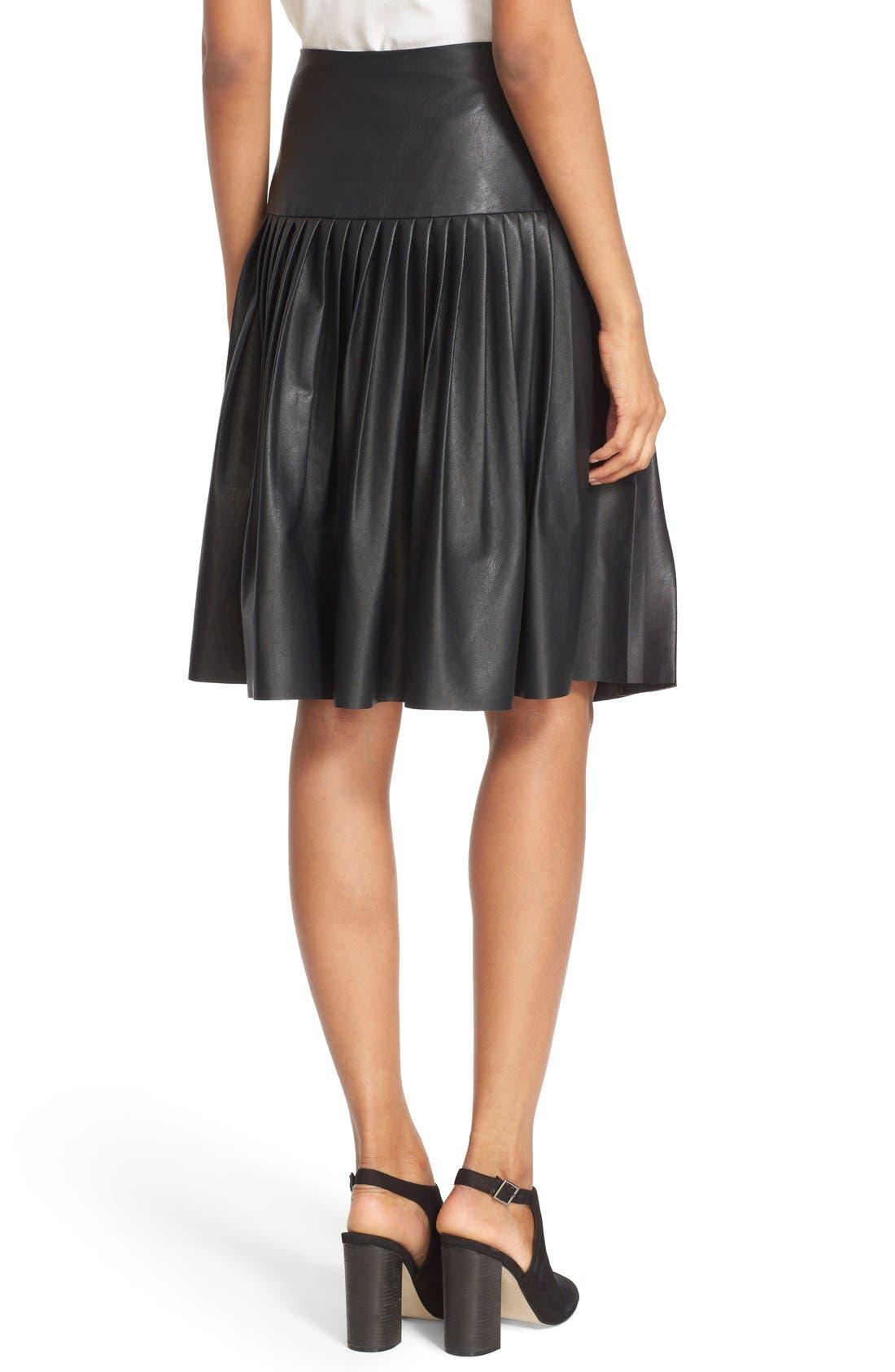 Faux Leather Pleated Drop Yoke Skirt,                             Alternate thumbnail 2, color,                             Black