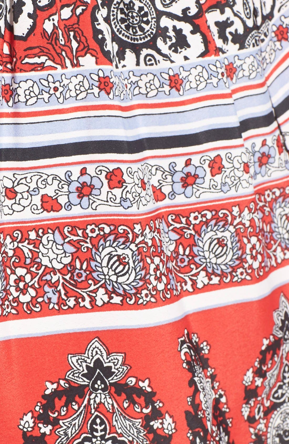Border Print Tie Front Shorts,                             Alternate thumbnail 5, color,                             Red/ White