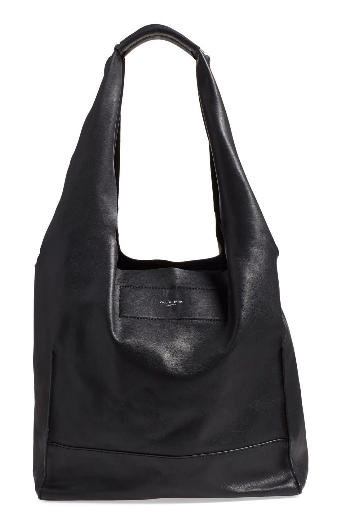Walker Leather Tote,                         Main,                         color, Black