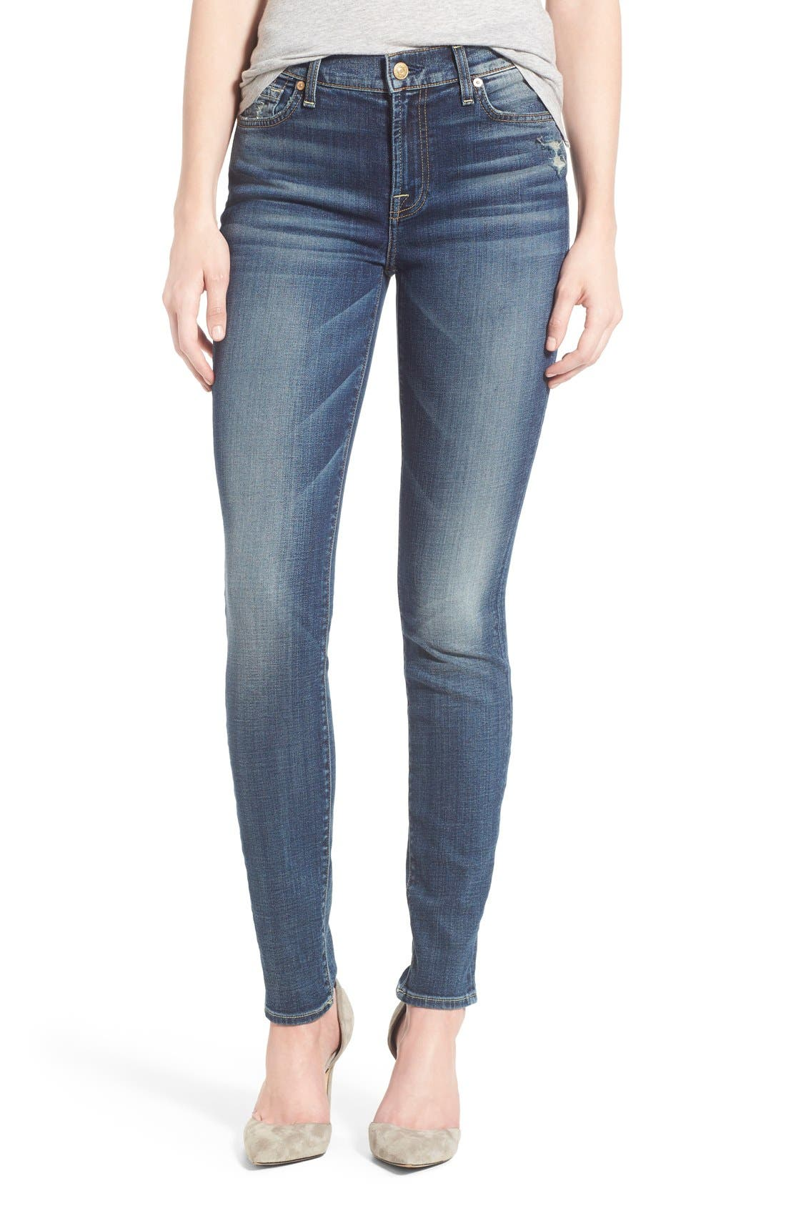 Main Image - 7 For All Mankind® Destroyed Skinny Jeans (Stretch Blue Orchid)