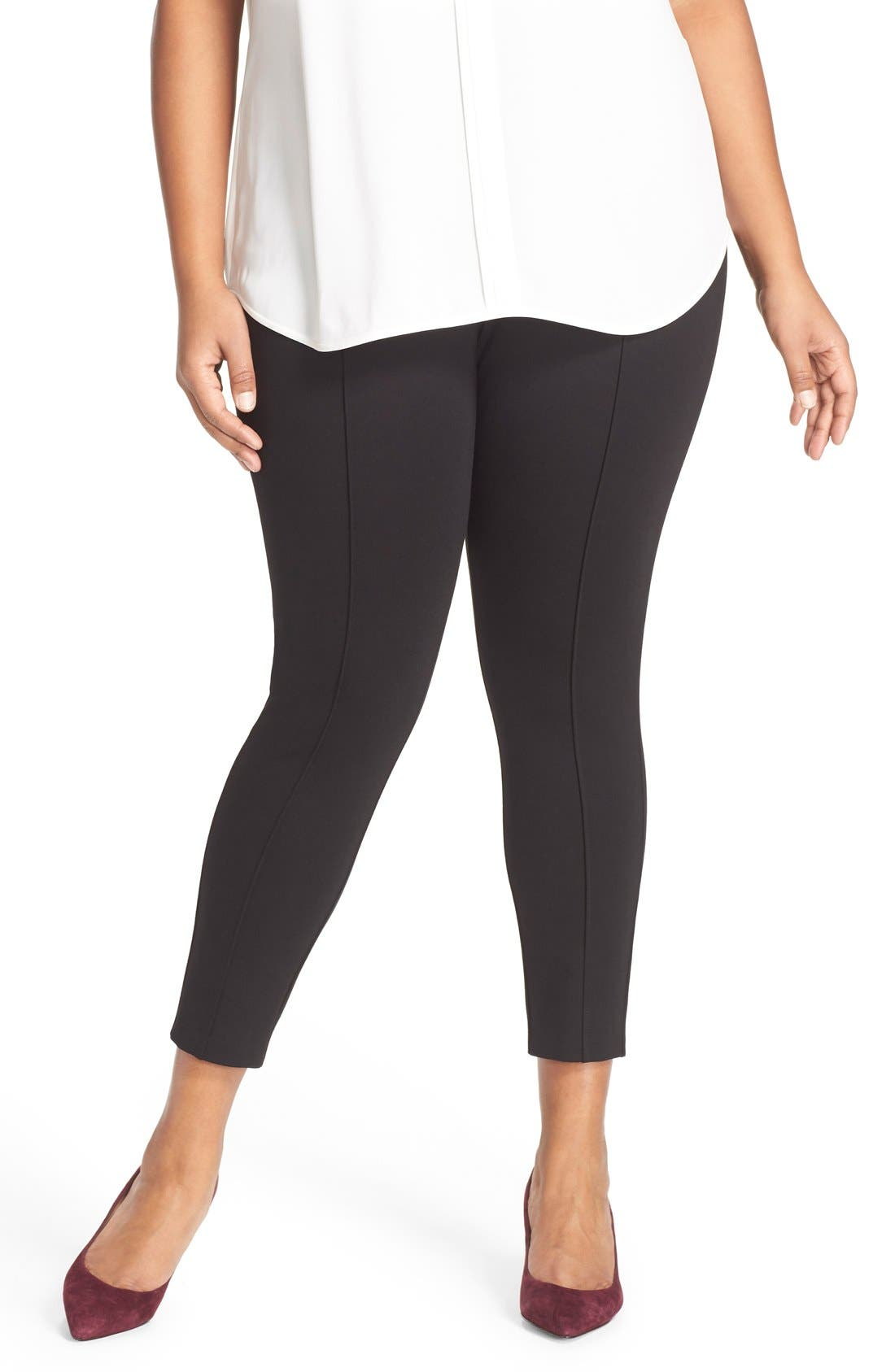 Sejour Seam Detail Crop Ponte Leggings (Plus Size)