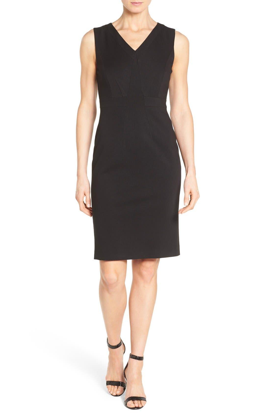 Main Image - Classiques Entier® Sleeveless Italian Ponte V-Neck Sheath Dress (Regular & Petite)