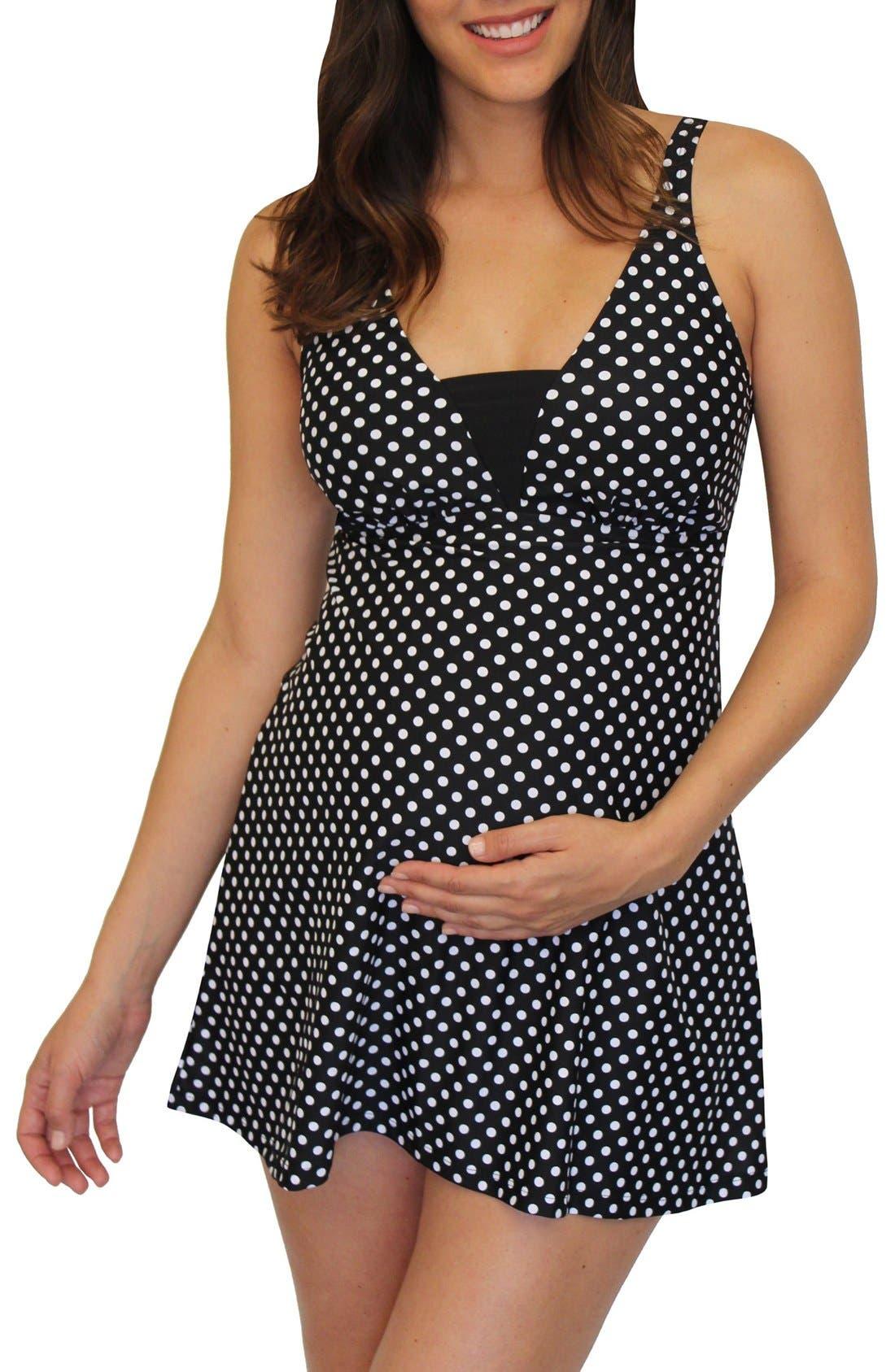 'Dresskini' Maternity Swim Top,                             Main thumbnail 1, color,                             Black W/ White Polka Dots