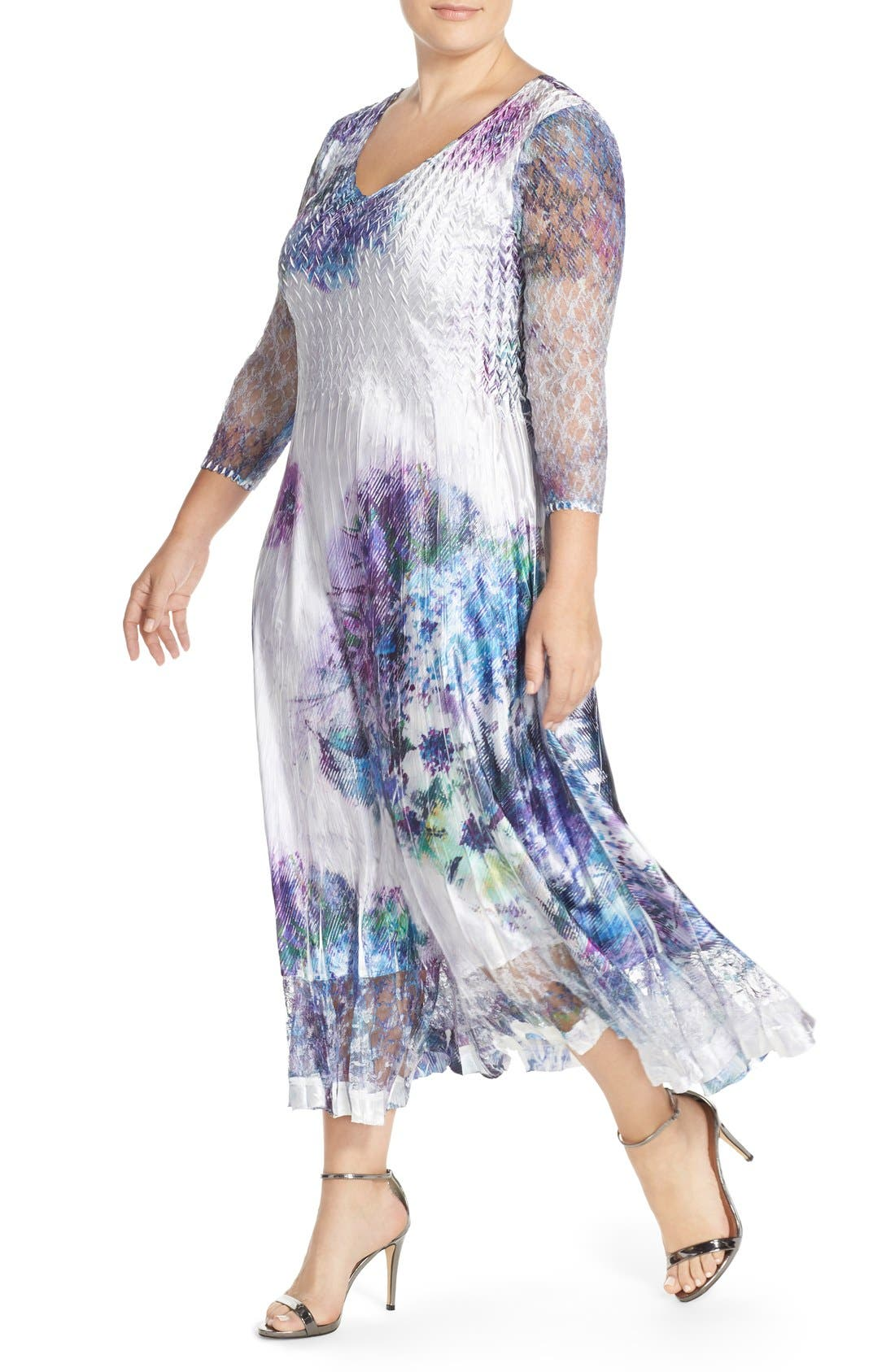 Alternate Image 2  - Komarov Print Charmeuse & Chiffon A-Line Long Dress (Plus Size)