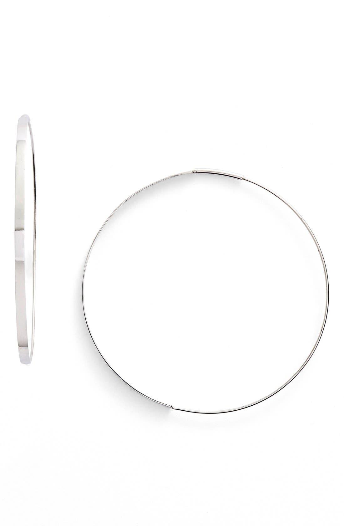 'Flat Magic' Medium Hoop Earrings,                         Main,                         color, White Gold