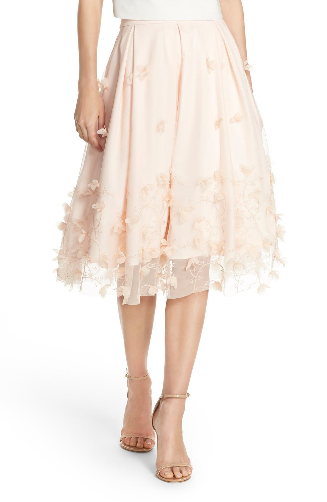 Floral Appliqué Ball Skirt,                         Main,                         color, Blush
