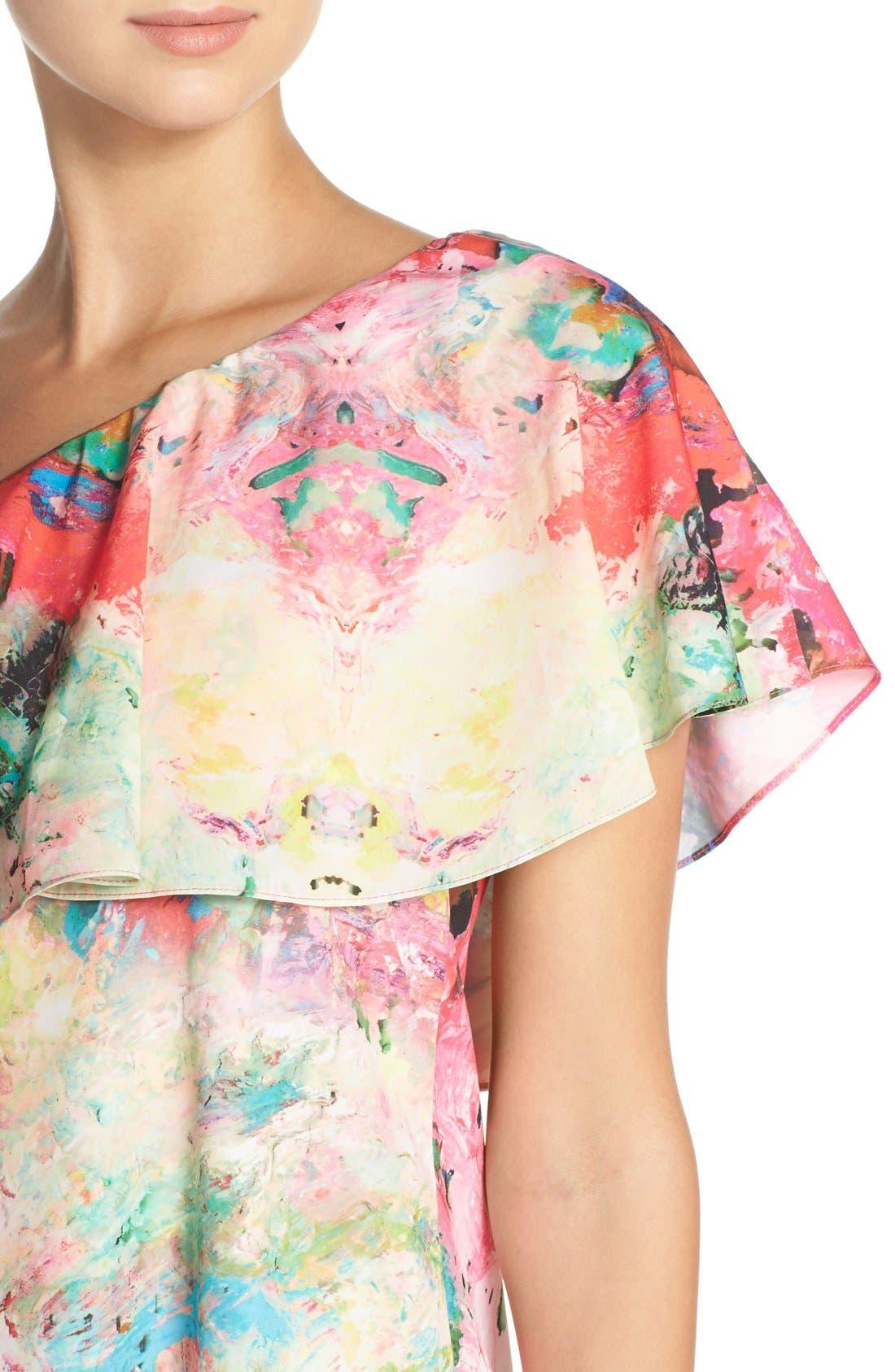 Alternate Image 5  - A by Amanda 'Zoe' Floral Print One Shoulder Dress