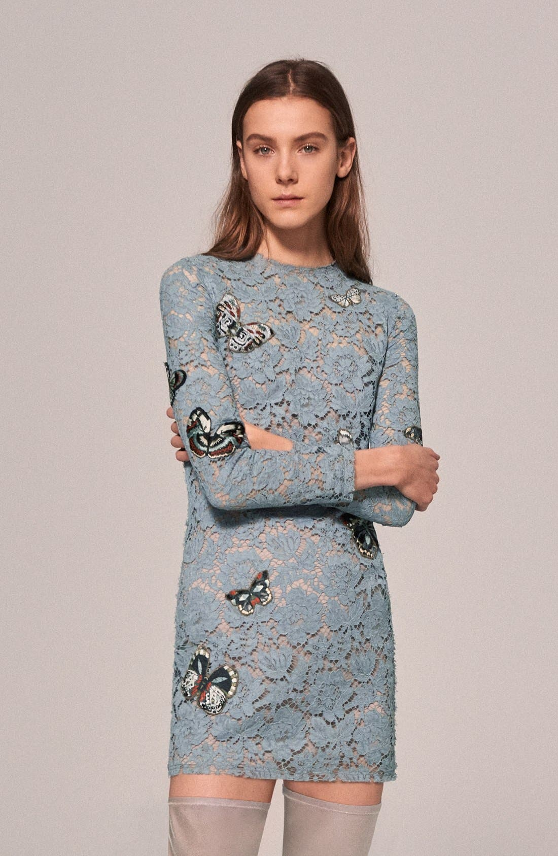 Butterfly Embroidered Lace Dress,                             Alternate thumbnail 7, color,