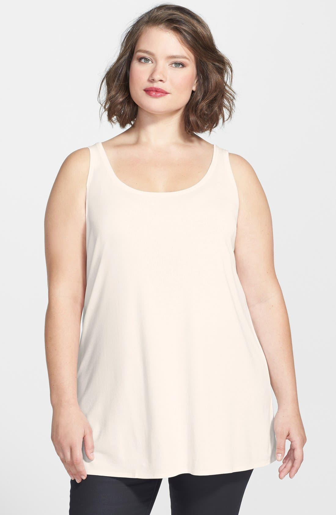 Alternate Image 1 Selected - Eileen Fisher Long Silk Tank (Plus Size)