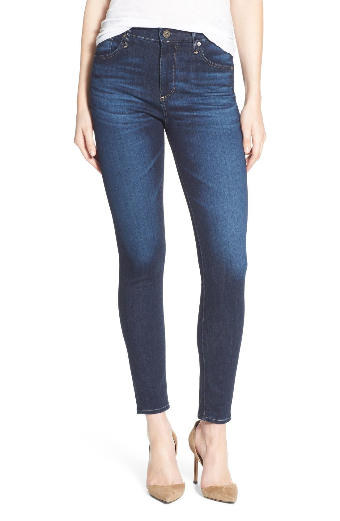 Alternate Image 1 Selected - AG 'The Farrah' High Rise Crop Skinny Jeans