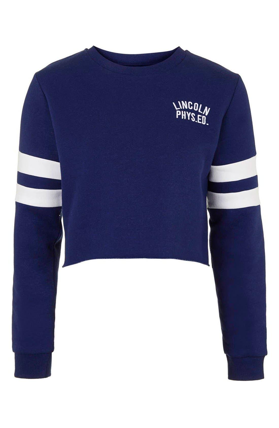 Alternate Image 4  - Topshop 'Lincoln Phys Ed' Crop Sweatshirt