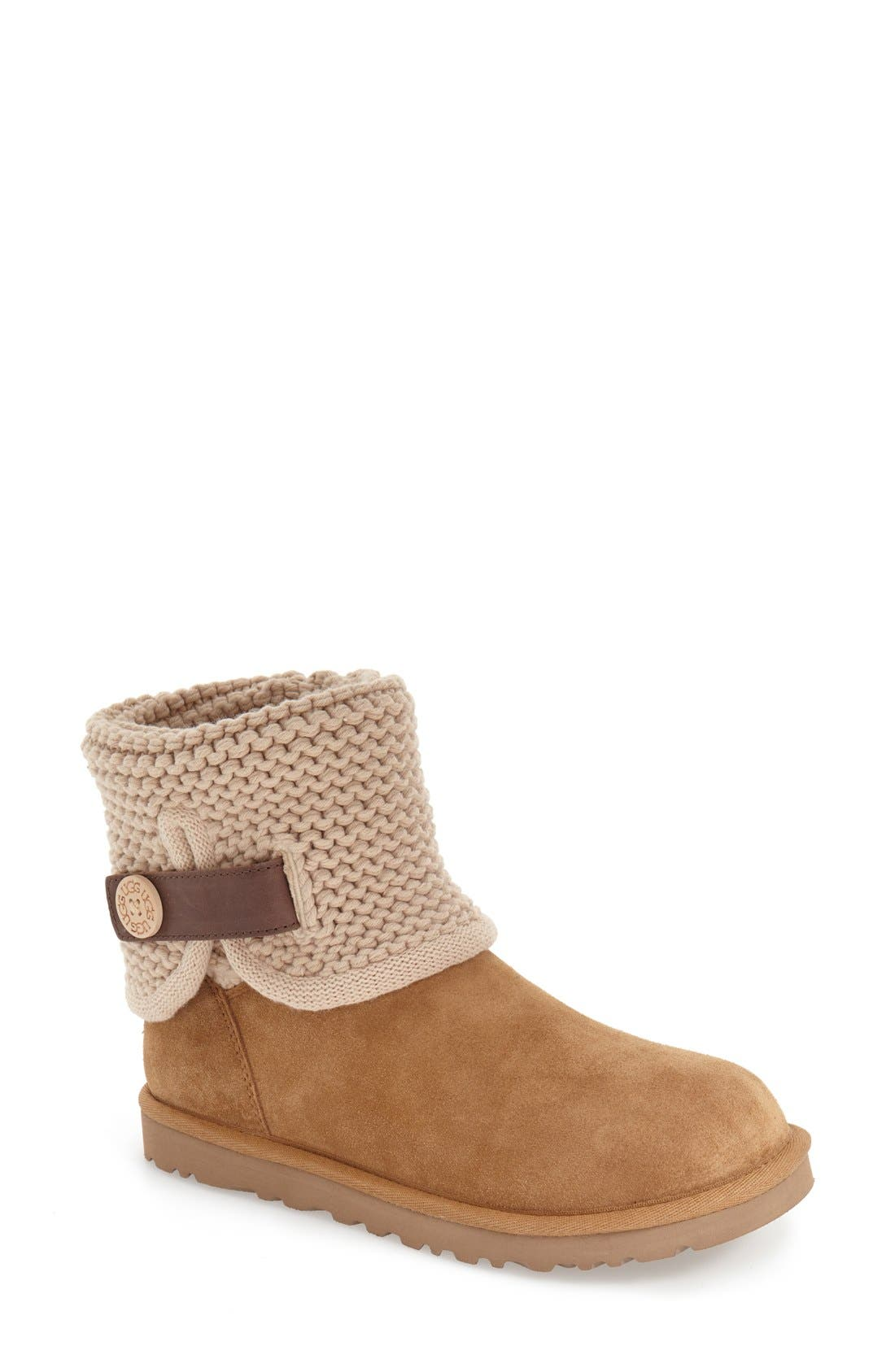 Shaina Knit Cuff Bootie,                         Main,                         color, Chestnut Suede