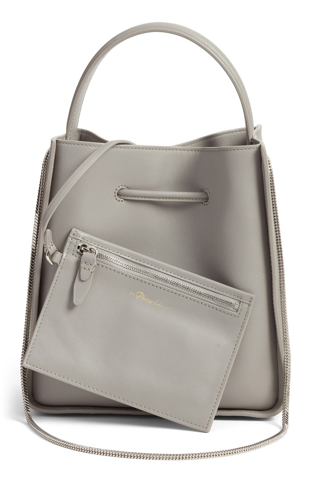 Small Soleil Leather Bucket Bag,                             Alternate thumbnail 2, color,                             Cement
