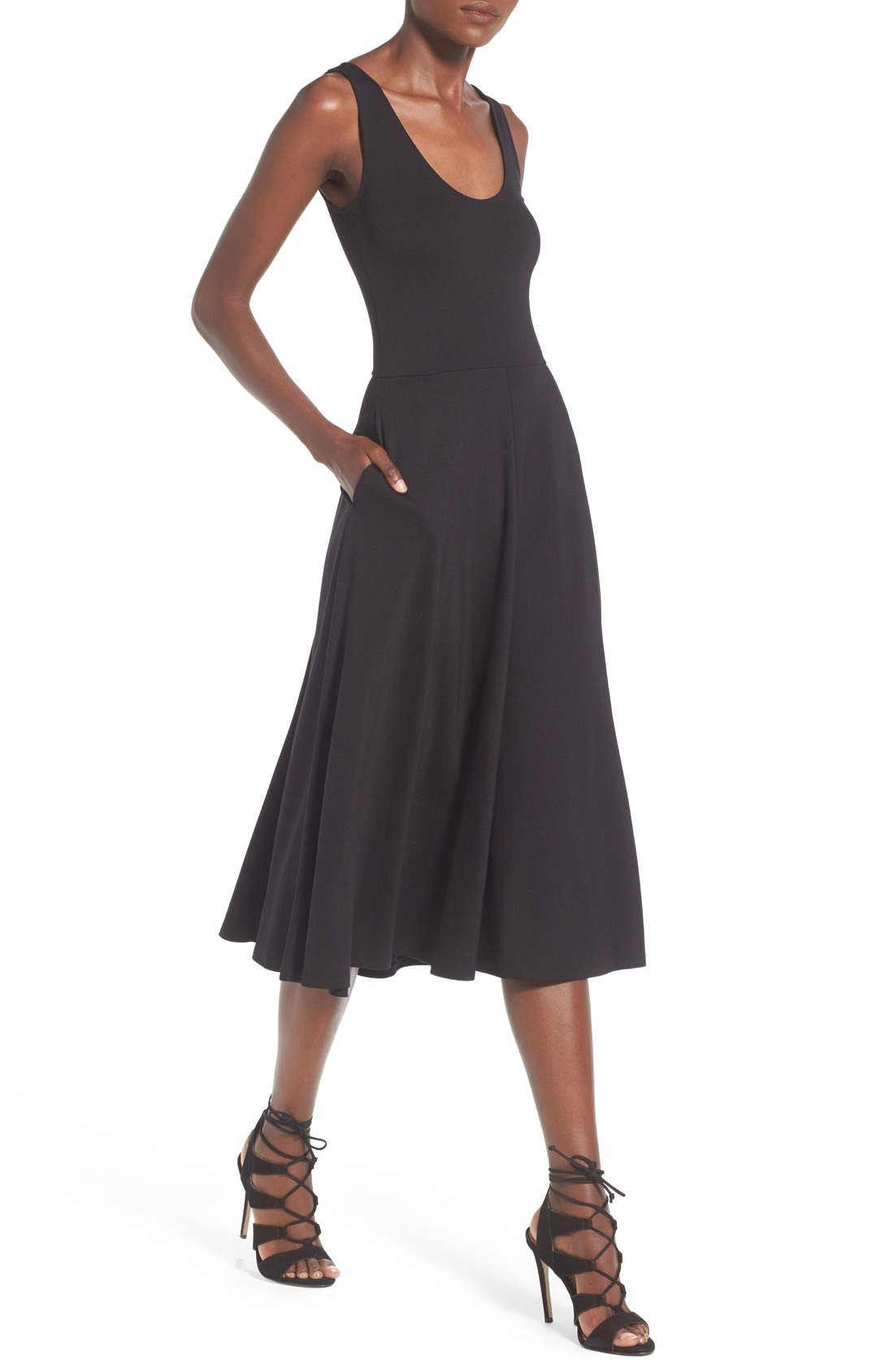 Stretch Knit Midi Dress,                             Alternate thumbnail 4, color,                             Black