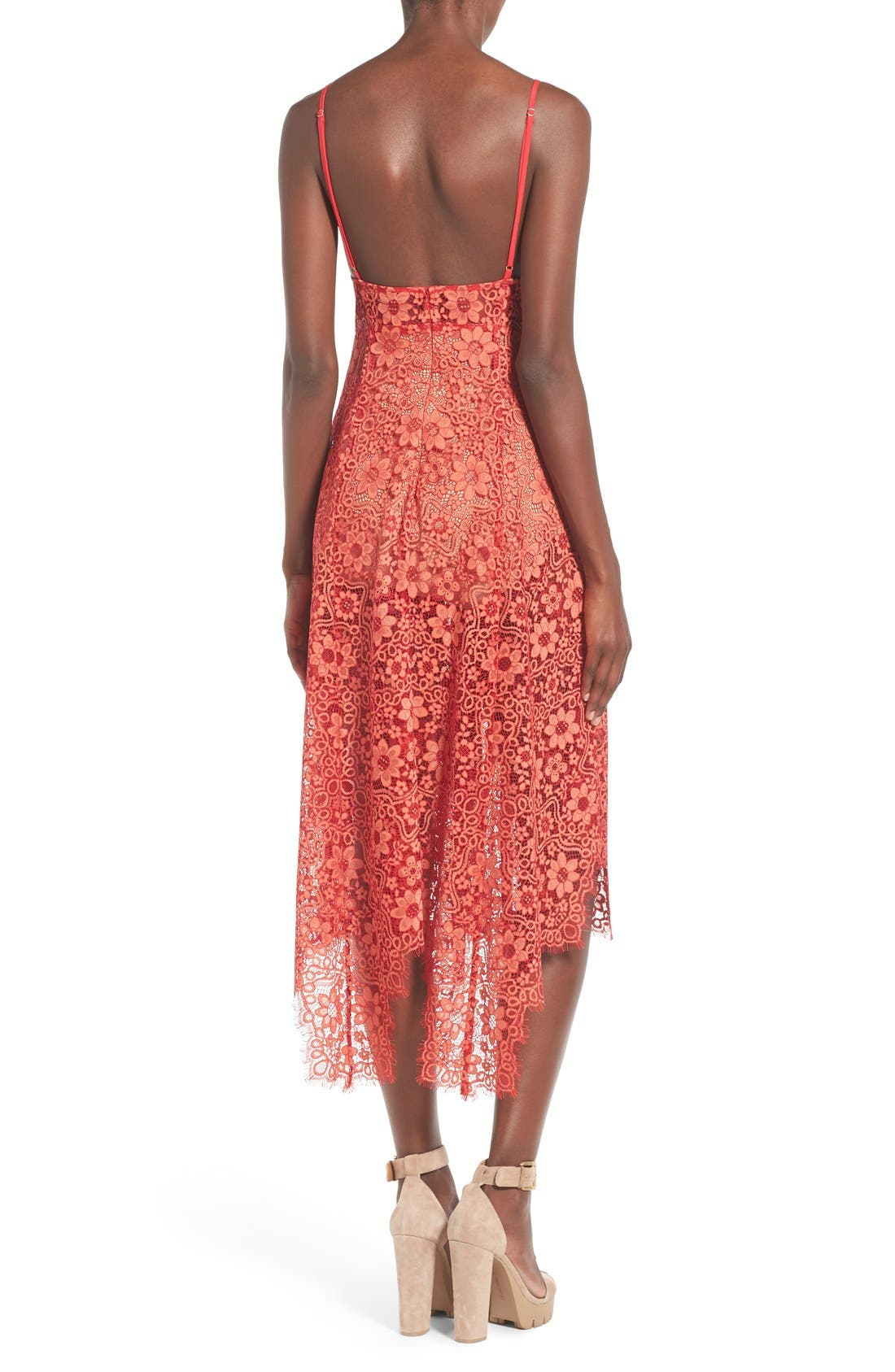 Alternate Image 2  - For Love & Lemons 'Rosemary' Handkerchief Hem Lace Midi Dress