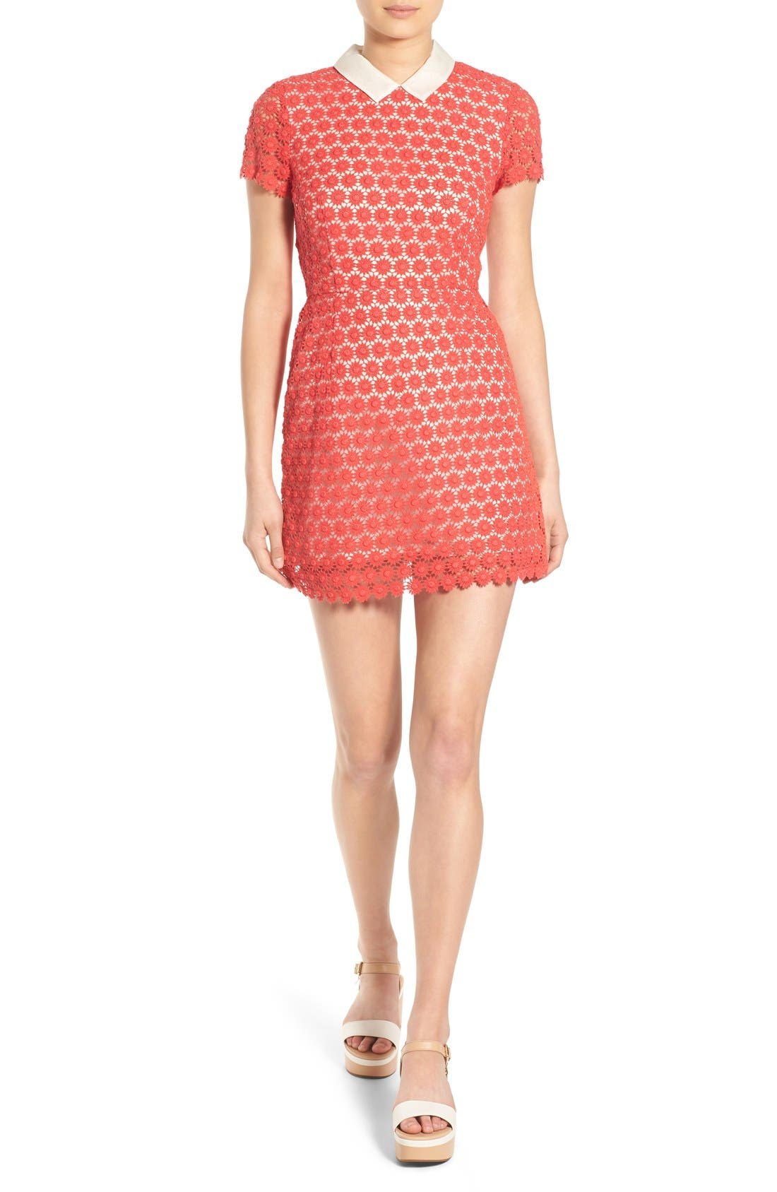 'Emily' Short Sleeve Lace Dress,                             Main thumbnail 1, color,                             Red