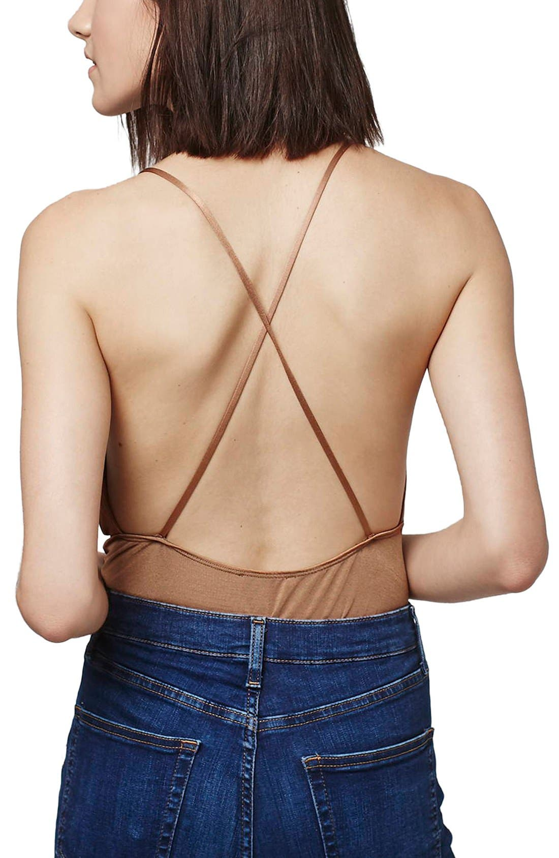 Alternate Image 3  - Topshop Plunge Cross Back Bodysuit