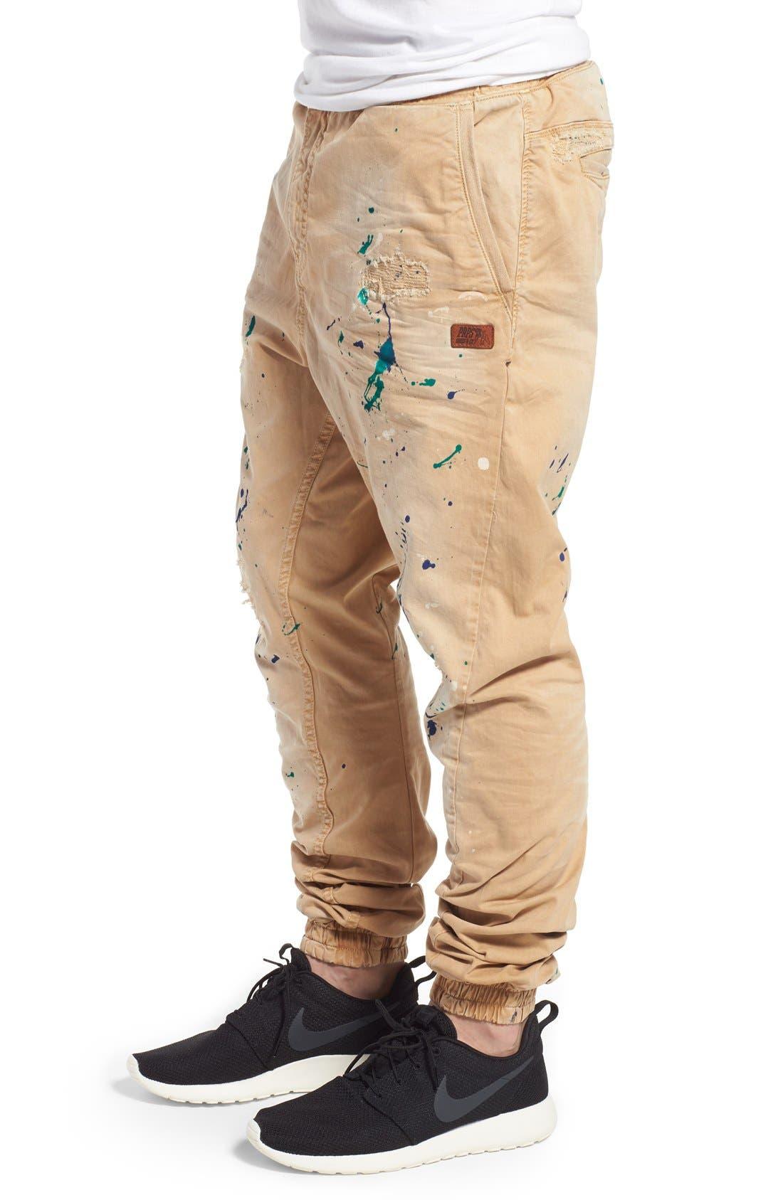 'Damiana' Splatter Paint Stretch Woven Jogger Pants,                             Alternate thumbnail 4, color,                             Khaki