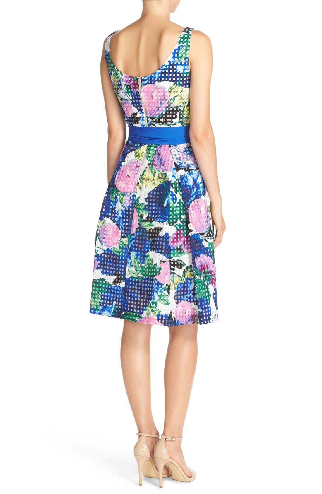 Alternate Image 2  - Eliza J Floral Check Organza Fit & Flare Dress