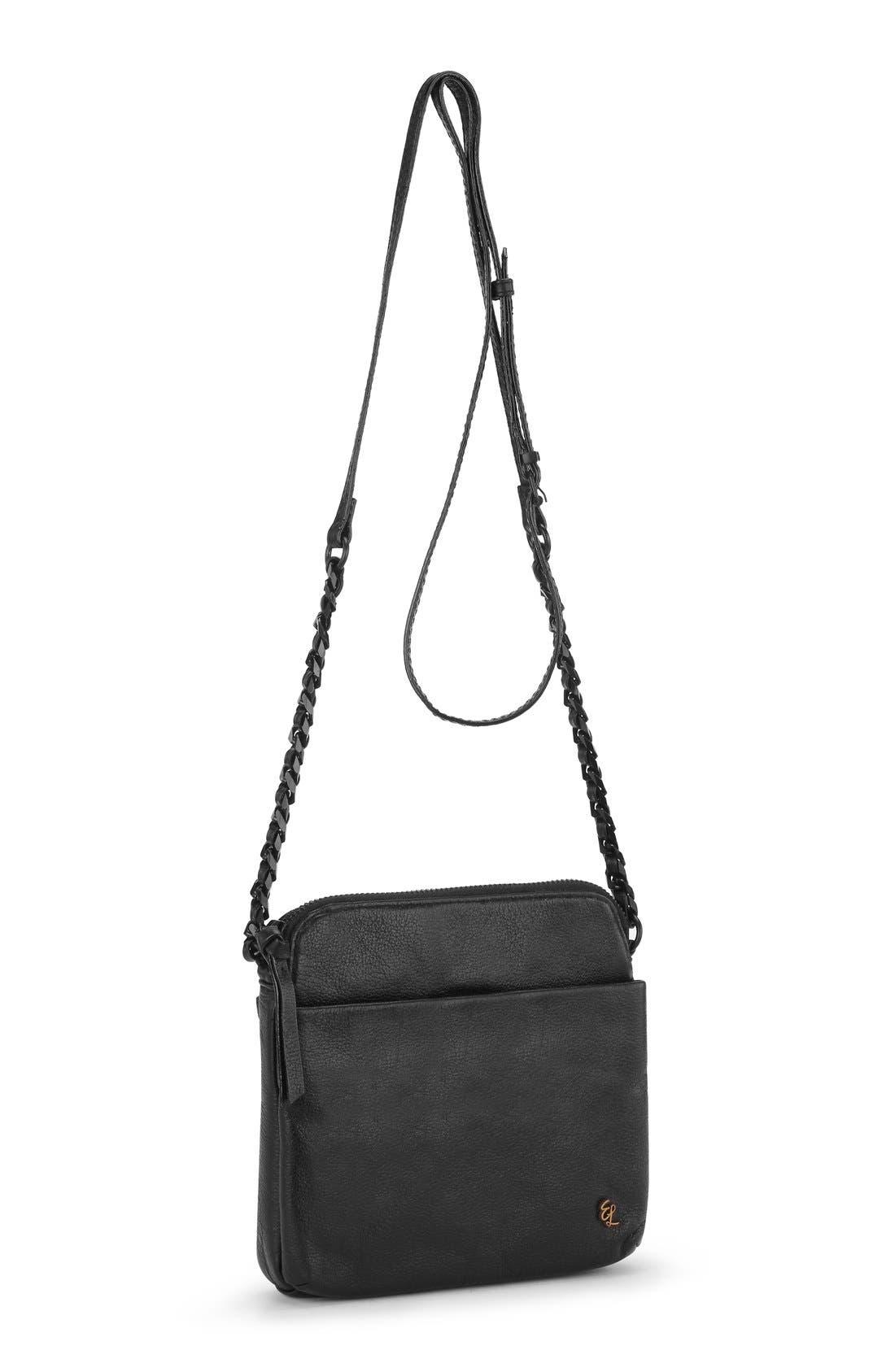 'Zoe Camera' Leather Crossbody Bag,                             Alternate thumbnail 3, color,                             Black