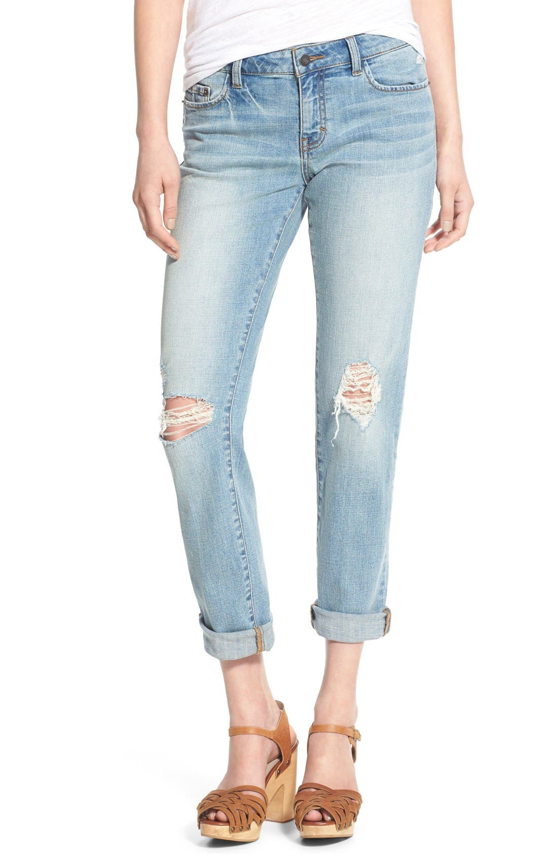 Main Image - Sun & Shadow Distressed Girlfriend Jeans