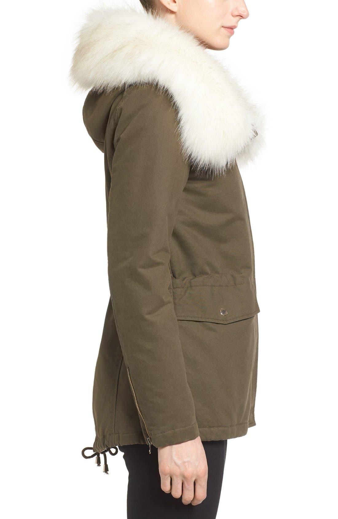 Alternate Image 4  - Tahari 'Jackie' Hooded Anorak with Removable Faux Fur Trim (Regular & Petite)