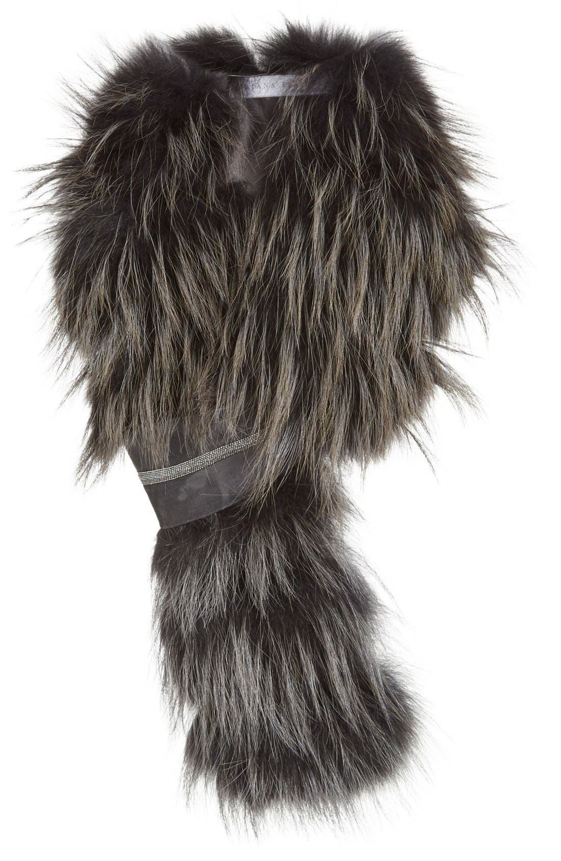 Main Image - Fabiana Filippi Genuine Fox Fur Scarf with Beaded Suede Pull