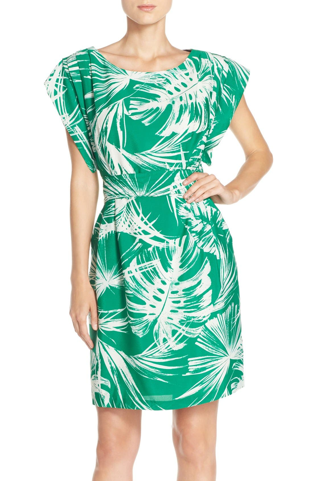 Palm Print Crêpe de Chine Shift Dress,                             Main thumbnail 1, color,                             Green Ivory