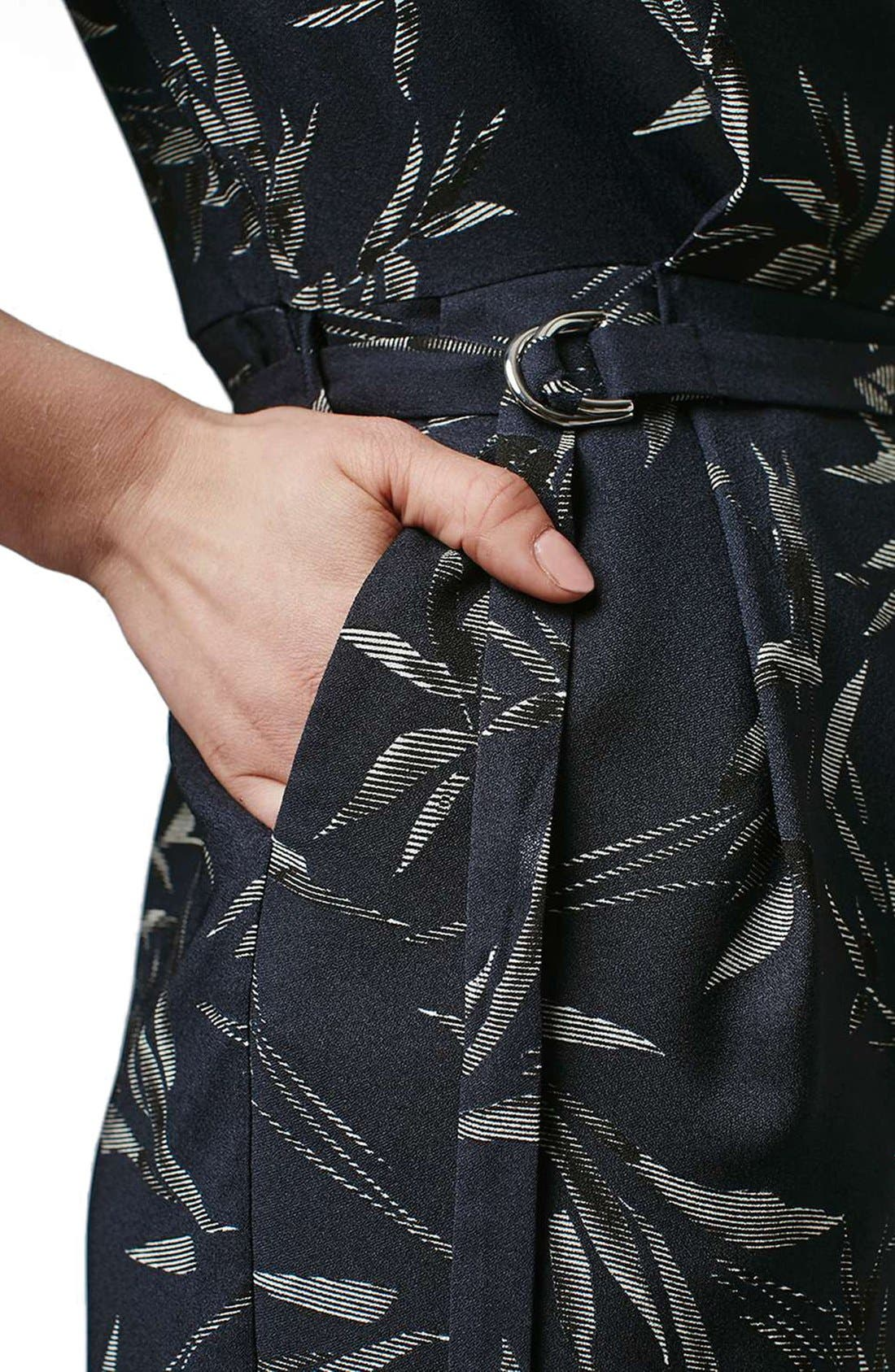 Alternate Image 5  - Topshop 'Alexa' Three-Quarter Sleeve Leaf Romper