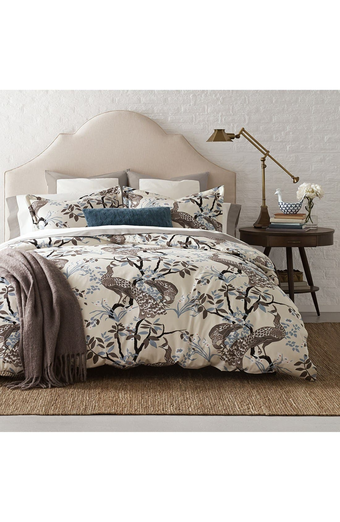'Peacock' Duvet Cover,                         Main,                         color, Dove